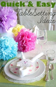 Uses fabric cloth, burlap runner, scrap paper placemats, doilies, tissue paper flowers, bunny napkin rings