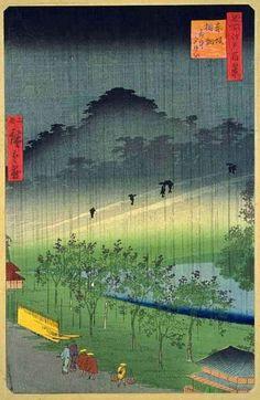 Hiroshige II -Akasaka-Kiribataki in Rain (In later editions this print replaced the original print by Hiroshige)