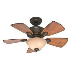 Hunter Fan Company 52090 Watson 34-Inch New Bronze Ceiling Fan with Five Cabin Home/Walnut Blades and a Light Kit Hunter Fan Company $89