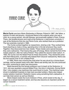 Women's History Month Fourth Grade Comprehension History Worksheets: All About Marie Curie 4th Grade Social Studies, Social Studies Worksheets, Science Worksheets, Writing Worksheets, Marie Curie For Kids, Physic Reading, How To Study Physics, Reading Comprehension Worksheets, Facts For Kids