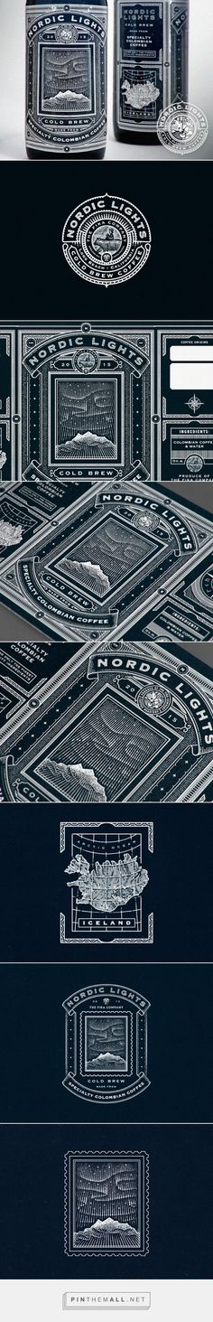 Nordic Lights Coffee packaging designed by Ye Olde Studio - http://www.packagingoftheworld.com/2016/01/nordic-lights.html - created via https://pinthemall.net (Liquor Bottle Sketch)