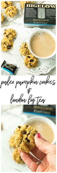 Warm up with a cozy mug of London Fog Tea and a side of yummy Paleo Pumpkin Chocolate Chip Cookies. You guys are going to love this winning combination! #AD #TeaProudly