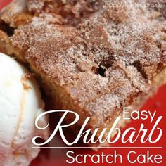 This easy Rhubarb cake is perfect as a summer dessert or for coffee break. You make it with rhubarb, fresh from the garden. Served warm with whipped cream or ice cream, it's absolutely delicious! Rhubarb Desserts, Rhubarb Cake, Rhubarb Recipes, Fun Desserts, Rhubarb Scones, Cake Recipes, Dessert Recipes, Brunch Recipes, Muffins
