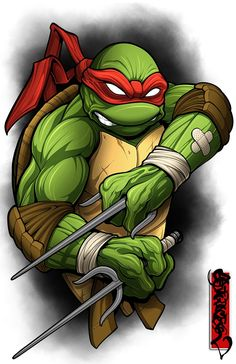 Image of The Angry One Ninja Turtle Drawing, Ninja Turtle Tattoos, Cartoon Tattoos, Cartoon Drawings, Cartoon Art, Teenage Ninja Turtles, Ninja Turtles Art, Joker Art, Tmnt