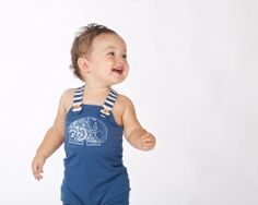 Baby bamboo overalls with contrasting stripe straps and wooden engraved elephant buttons Doodlebug Summer 2014 www.ilovedoodlebug.com.au