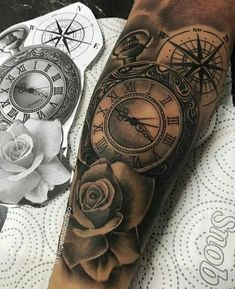 Diseños Originales De Tatuajes De Rosas Y Reloj Tattoos