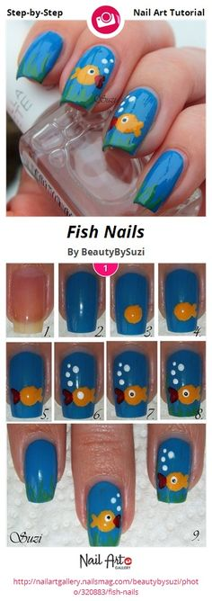Fish Nails by BeautyBySuzi - Nail Art Gallery Step-by-Step Tutorials nailartgallery.nailsmag.com by Nails Magazine www.nailsmag.com #nailart