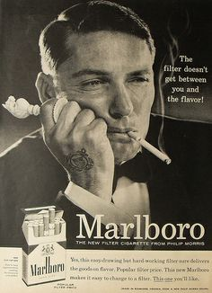 1950s MARLBORO cigarettes flip top box advertisement vintage man smoking chess by Christian Montone, via Flickr