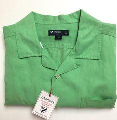 NEW Cremieux Sunwashed Silk/Linen Short Sleeve Shirt - L Ridge Green #Cremieux…
