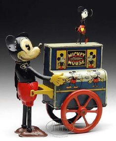 toys, Germany, Distler Mickey Mouse Organ Grinder tin windup toy. Circa 1930