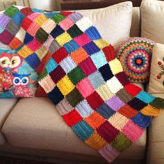 """Mood Blanket WIP by the lovely Angie of Le monde de Sucrette ~ For each square """"...a chain of 12. Followed by 5 rows of 12dc each. And a last round all around the square of 1sc-3ch-1sc (and in the 4 corners too). This last round is for joining the squares together."""""""