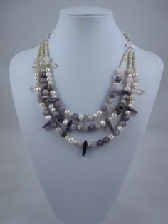 Purple fluorite, lilac stone beads, freshwater pearl, and sterling silver offbeat avant garde statement bridal wedding necklace