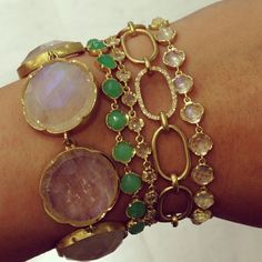 Spring has sprung and what better way to kick it off than with a beautiful stack by @Irene Hoffman Neuwirth? #stack #spring #chrysoprase #moonstone #diamonds #gold #bling #instagems #instajewels #jewelry #bracelets #sunshine #bright #color #ireneneuwirth #losangeles #designer #singlestonemissionstreet
