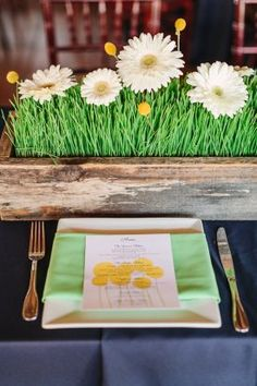 Place Setting with Mint Green Naps, White Daisy Centerpieces and Menu Cards with Yellow Flowers Daisy Centerpieces, Grass Centerpiece, Centerpiece Ideas, Tulip Bridal Bouquet, Floral Bouquets, Wedding Vendors, Our Wedding, Grass Decor, Brides Cake