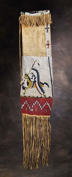 Sioux Pictorial Beaded Pipe Bag - High Noon Western Americana, 1890.