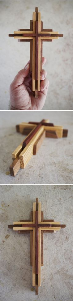 Plans to make this Wooden Cross DIY. This cross is handmade from three solid woods; Cardinalwood, Cypress and Walnut.   Handcrafted in Texas by DenneheyDesign.com