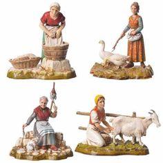 Mestieri donne 4 pz 10 cm Moranduzzo | vendita online su HOLYART Biblical Costumes, Natal Diy, Medieval Houses, Baby Sewing, Happy New, Nativity, Statue, Wallpaper, Crib