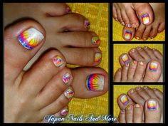 Rainbow Gel Toe Nail Design