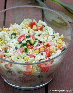 surowka-z-kapusty-pekinskiej-papryki-i-kukurydzy Slaw Recipes, Cabbage Recipes, Diet Recipes, Cooking Recipes, Healthy Recipes, Appetizer Salads, Appetizer Recipes, Tasty Dishes, Food Dishes