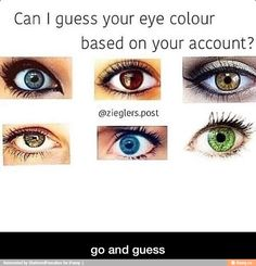 Can you guess? PROBABLY NOT MWAHAHAHA. IM ONLY REPINNING FOR THEM SEXY, SEXY EYES. LOOK AT DAT BLUE. AND THE GREEN, OH DAT GREEN. BUT THE HAZEL, THE HAZEL TAKES ALL, AFTER THE BLUE-GREY OF COURSE. AND THE BROWN. THEY'RE ALL SEXY.