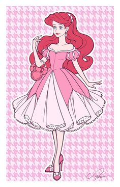 Ariel in her new and lovely pink dress with her crab shaped purse Ariel Disney, Disney Princess Art, Disney Princess Dresses, Princesa Disney, Disney Fan Art, Disney Style, Disney Love, Disney Magic, Funny Disney