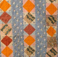 Detail, Antique 1830 Lancaster County Square on Point Bars Quilt   eBay, paris0813