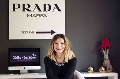 Emilie from Stella + the Stars looking hot in front of her Prada sign at her cool London home/Photo: Aurelie Lagoutte Prada Marfa, Pink Houses, Work Spaces, Home Photo, Light Up, Dubai, Sign, London, Cool Stuff