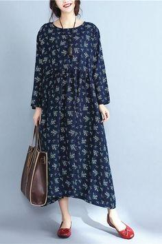 Floral Plus Size Vintage Loose Dress Women Clothes