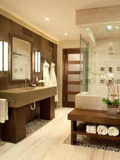 badgestaltung ideen schone bader badezimmer in braun und beige mit natursteinen und holz