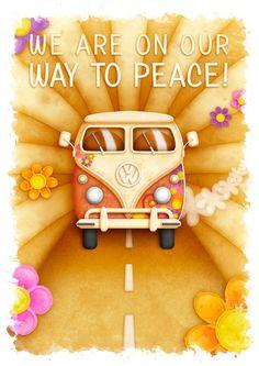 """Peace"" - VW Van by KJ Illustration, via Behance Hippie Peace, Hippie Art, Hippie Style, Volkswagen Bus, Vw Camper, Combi Hippie, Homemade Christmas Gifts, Illustrations, Finding Peace"
