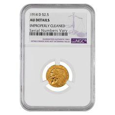1914 D $2.5 Indian Head Gold Quarter Eagle Coin NGC AU Details