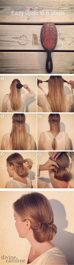 Easy Hairstyles for Work - Easy Updo in 6 Minutes - Quick and Easy Hairstyles For The Lazy Girl. Great Ideas For Medium Hair, Long Hair, Short Hair, The Undo and Shoulder Length Hair. DIY And Step By Step - https://www.thegoddess.com/easy-hairstyles-for-work #diyhairstylesupdo