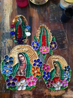 Sequin applique of Virgin Mary / Our lady of Guadalupe in etsy store now!  http://www.etsy.com/shop/TheVirginRose