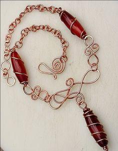 Copper Wire Jewelry   Carnelian & Copper Wire Necklace   Art-Z Jewelry