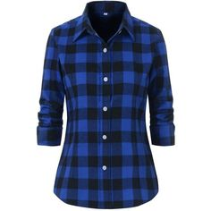 Benibos Women's Check Flannel Plaid Shirt (93 DKK) ❤ liked on Polyvore featuring tops, shirts, flannel, jackets, blue checked shirt, button up shirts, blue checkered shirt, blue top and blue shirt