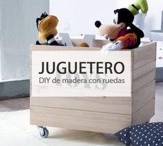 Crea un original juguetero de madera con ruedas #diy #deco