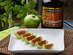 How To Make Caramel Apple Shots With Granny Smith Apples, Knox Gelatine, Water, Coconut Milk, Yellow Food Coloring, Caramels, Sugar, Schnapps, Lemon Juice