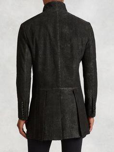 Scored Leather Cutaway Coat - John Varvatos