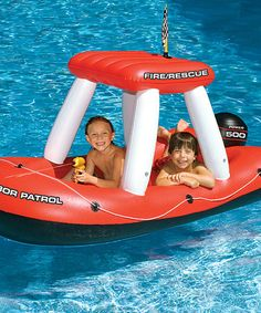 Take a look at this Fireboat Super Squirter Float -now I wish we lived in AZ just to have a pool. I really was lucky having a pool all my life! But now they have such fun toys!