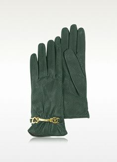 Moschino Perforated Green Nappa Leather Gloves