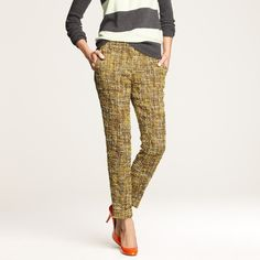 J.Crew Cafe Capri in Harvest Tweed Beautiful pants - almost 3D like tweed texture, a work of art. Worn twice. J.Crew Retail Cafe Capri in Harvest Tweed, size 10. J. Crew Pants Capris