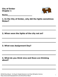 the city of ember novel study unit with questions and activities rh pinterest com City of Ember Trailer City of Ember Lina