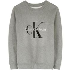 Calvin Klein Jeans Logo Sweatshirt ($130) ❤ liked on Polyvore featuring tops, hoodies, sweatshirts, sweaters, shirts, jumpers, light grey, cotton logo shirts, calvin klein shirts and logo tops