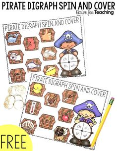 FREE Pirate Digraph Spin and Cover games! Two digraph game boards to use as literacy centers, guided reading games or word work stations. Pirate Activities, First Grade Activities, Phonics Activities, Work Activities, Word Work Stations, Literacy Stations, Literacy Centers, Reading Stations, Writing Centers