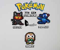 Pokemon Starters-7th Generation-Litten Popplio Rowlet-Hama Beads 8 bit Pixel Art-Duastiro Artkal Fuse Perler Creations