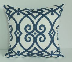 This pretty blue and white pillow cover features an elegant pattern made from 100% cotton home decor fabric.  The pillow insert is not included.