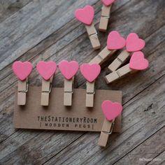 Mini Holz Rosa Herz Form rasten für von theStationeryRoom auf Etsy