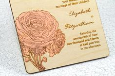 wooden wedding invite