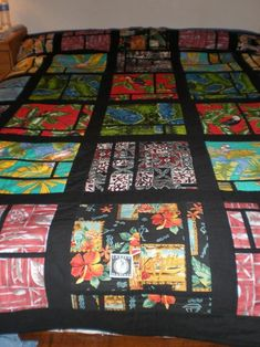 Hawaiian Fabric Quilt made in 2012 from recycled clothing I had saved for 30 years.