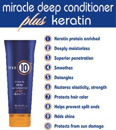 Reverse damage and repair healthy manageability and shine with It's a 10 Haircare's nutritive deep conditioning complex. Featuring Keratin as the key active ingredient, this 5- to 10-minute mask will smooth the hair cuticle and layer it with a strong protective coating that resists heat, humidity, styling, split ends, and sun damage. Hair is left smooth, detangled, shiny, stronger and full of life.